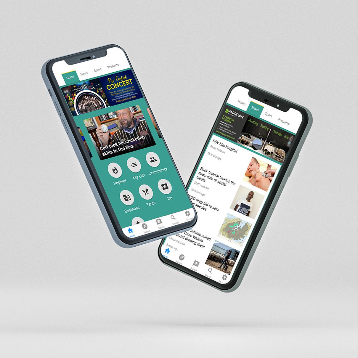 Marlborough App mockup on phone
